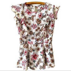 Anthropology floral blouse with lace detail small